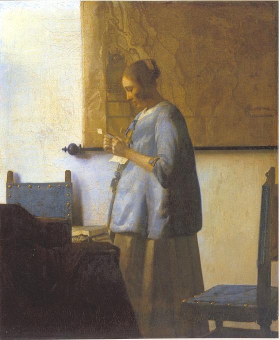 Γυναίκα με μπλε που διαβάζει γράμμα, 1663-4, Ρέικσμουζέουμ Ά
