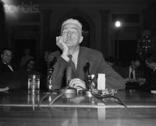 Writer Dashiell Hammett Testifying Before Senate